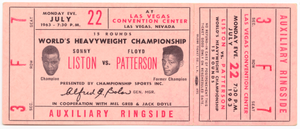 Ticket to a championship boxing match between Floyd Patterson and Sonny Liston