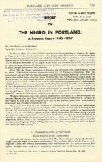 Report on the Negro in Portland: A Progress Report 1945-1957, April 8, 1957