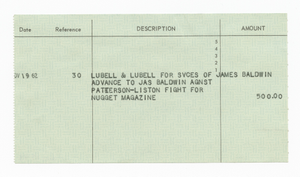 Check receipt for advanced payment to James Baldwin from Nugget Magazine