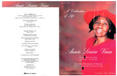 A celebration of life, Annie Louise Vann, Friday, May 21, 2004, 10:30 a.m. - 11:00 a.m., Second Ebenezer Church, 2760 E. Grand Blvd, Detroit, MI, Dr. Edward L. Branch, presiding, Dr. Edgar L. Vann, officiating