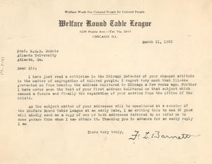 Letter from F. L. Barnett to W. E. B. Du Bois