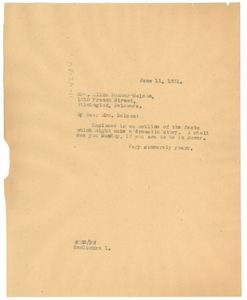Letter from W. E. B. Du Bois to Alice Dunbar-Nelson