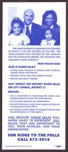 [Mario Marcel Salas Voting Promotional Flyer] Mario Marcel Salas Papers