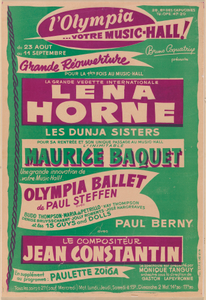 Poster for a Lena Horne performance at the Olympia Music Hall