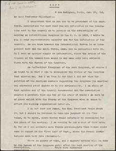 Baldwin, James Mark, 1861-1934 typed letter (copy) to Prof. Pillsbury, Paris, 23 January 1910
