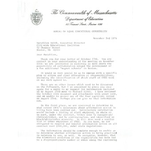 Letter, Bureau of Equal Educational Opportunity to Mary Ellen Smith, November 3, 1976