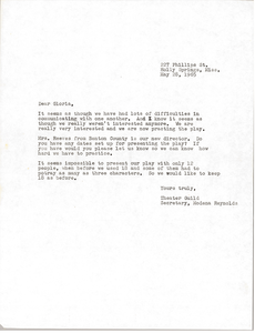 Letter from Modena Reynolds to Gloria Xifaras Clark