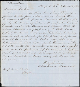 Letter from Abraham Simons, Norfolk, [Massachusetts], to Theodore Parker, 1854 [June] 6