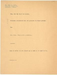Note from W. E. B. Du Bois to Noel P. Gist